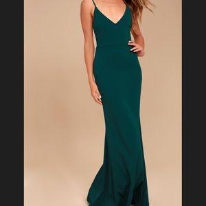 Lulu's | Infinite Glory Forest Green Dress